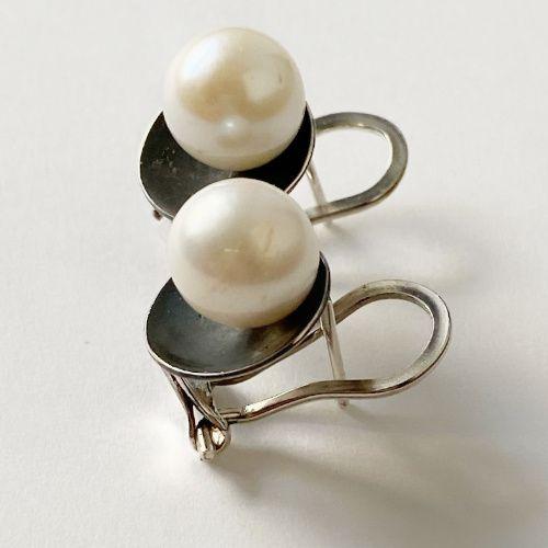 Pendientes Perlas y Plata Negra MR Milagro Rousse